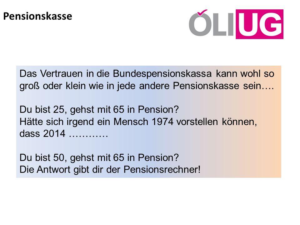 Pensionskasse Das Vertrauen in die Bundespensionskassa kann wohl so groß oder klein wie in jede andere Pensionskasse sein….