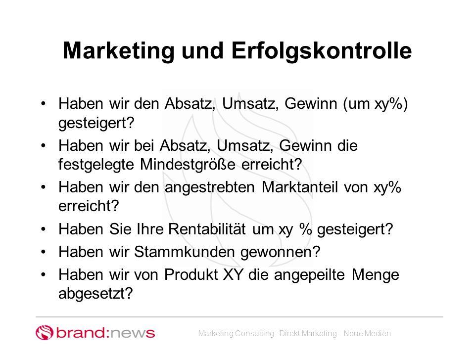 Marketing und Erfolgskontrolle