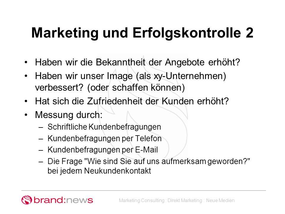 Marketing und Erfolgskontrolle 2
