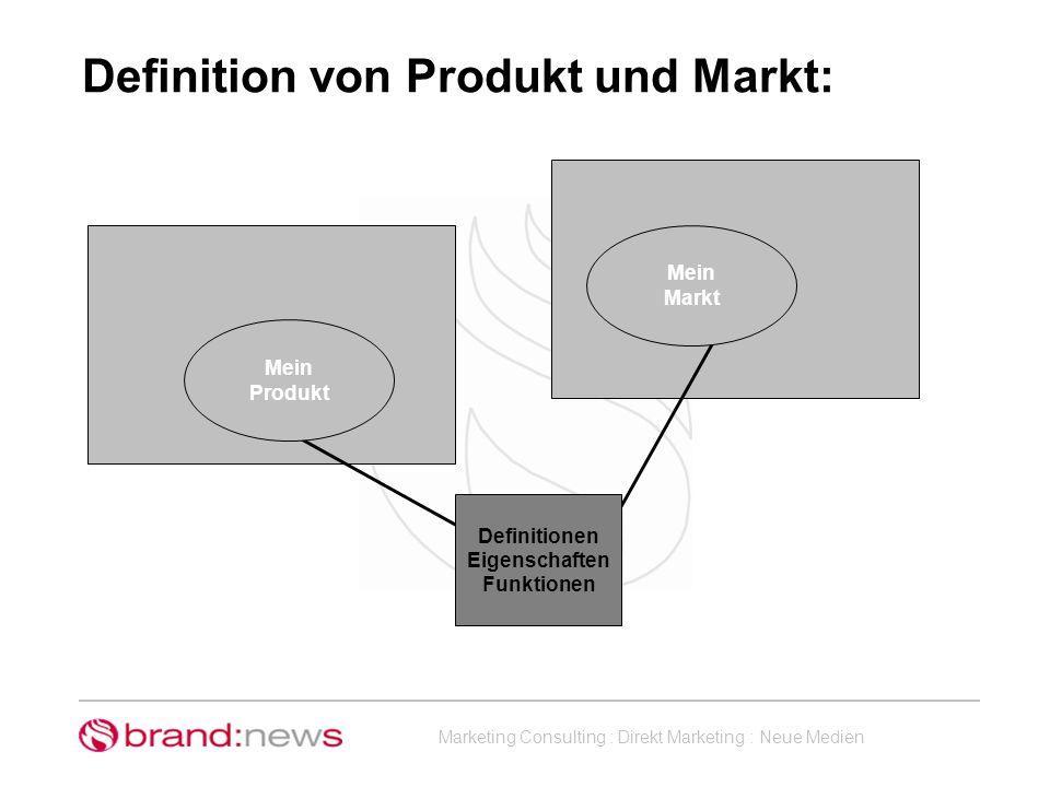 Definition von Produkt und Markt: