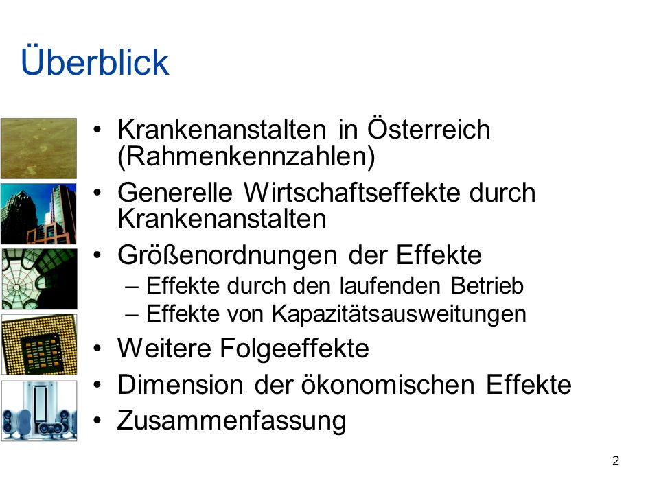 Überblick Krankenanstalten in Österreich (Rahmenkennzahlen)