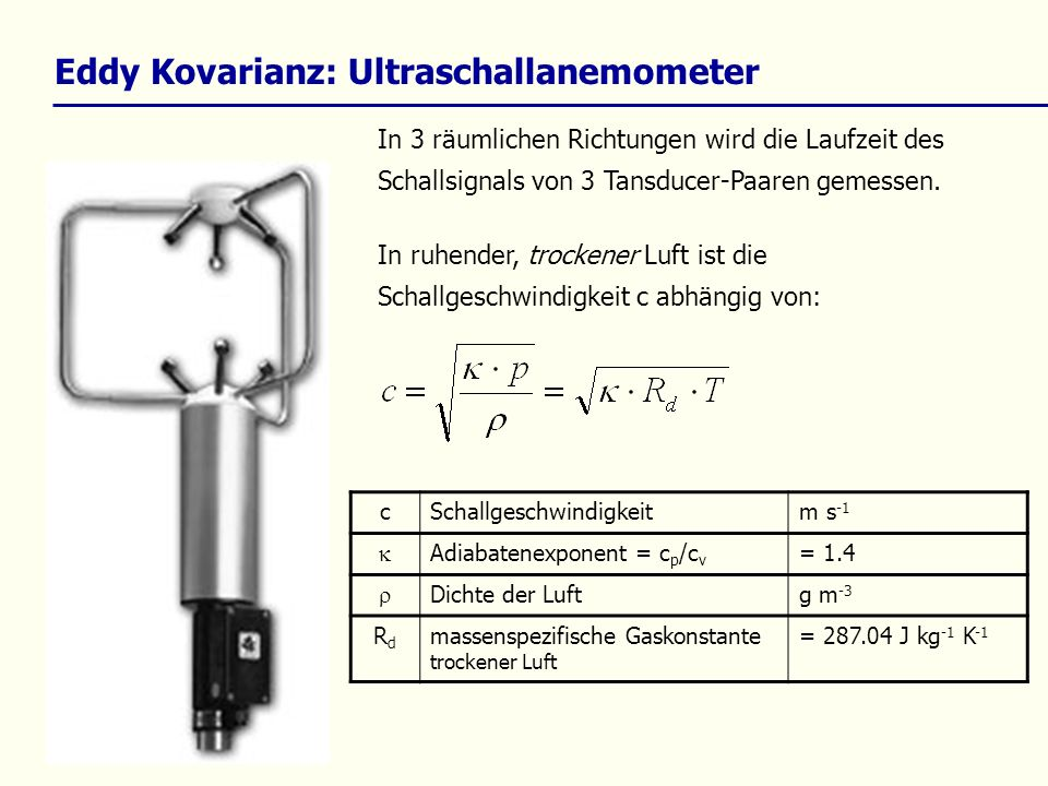 Eddy Kovarianz: Ultraschallanemometer