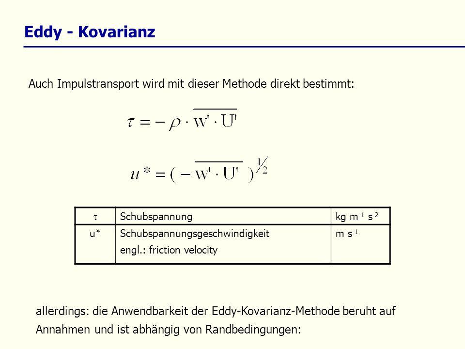 Eddy - Kovarianz Auch Impulstransport wird mit dieser Methode direkt bestimmt:  Schubspannung. kg m-1 s-2.