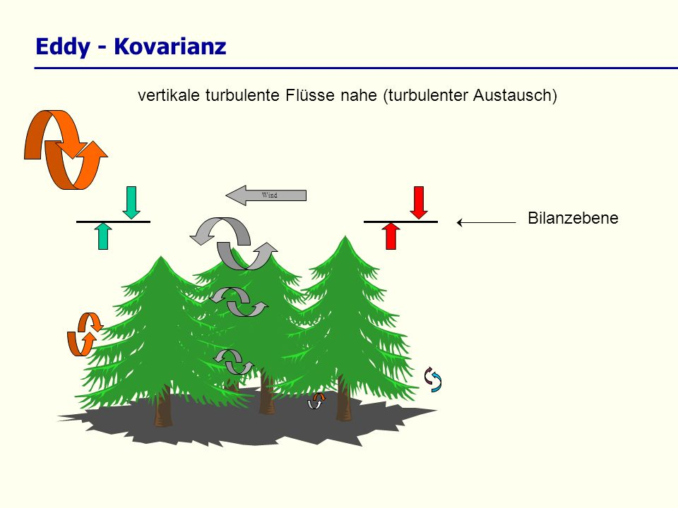 Eddy - Kovarianz vertikale turbulente Flüsse nahe (turbulenter Austausch) Wind Bilanzebene
