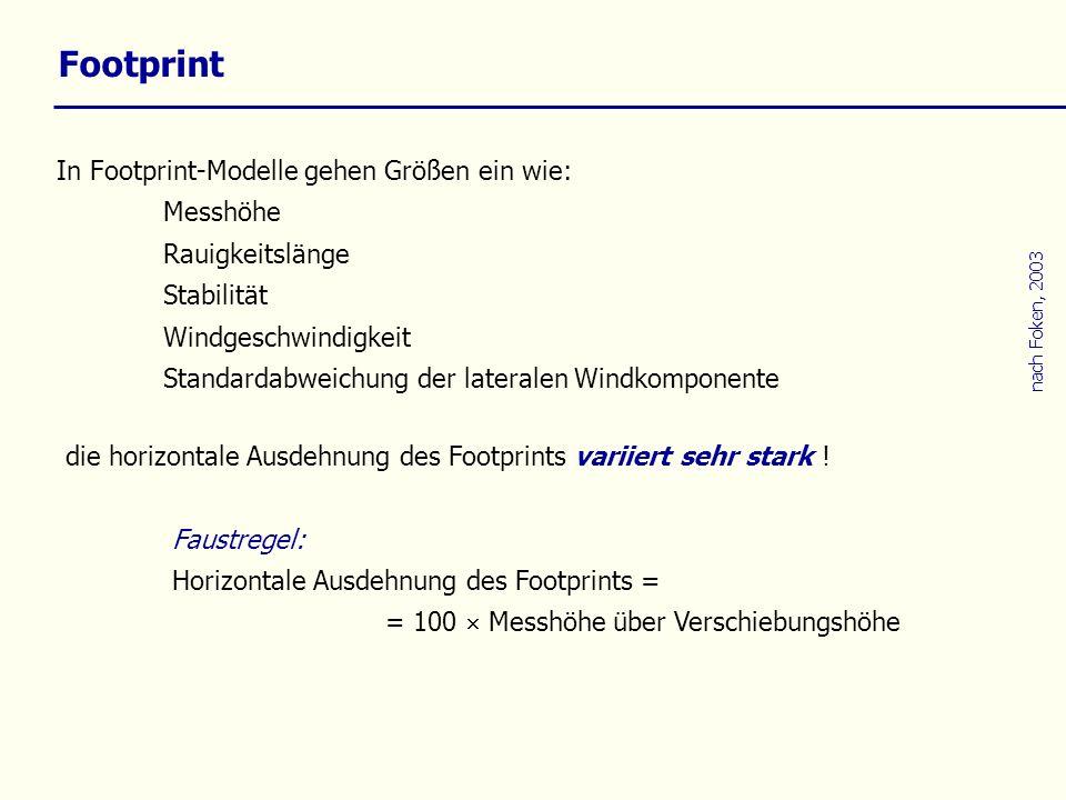 Footprint In Footprint-Modelle gehen Größen ein wie: Messhöhe