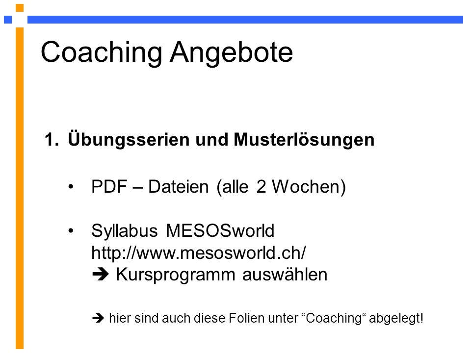 Coaching Angebote Übungsserien und Musterlösungen