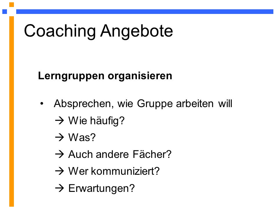 Coaching Angebote Lerngruppen organisieren