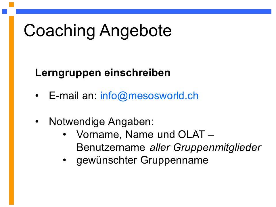 Coaching Angebote Lerngruppen einschreiben