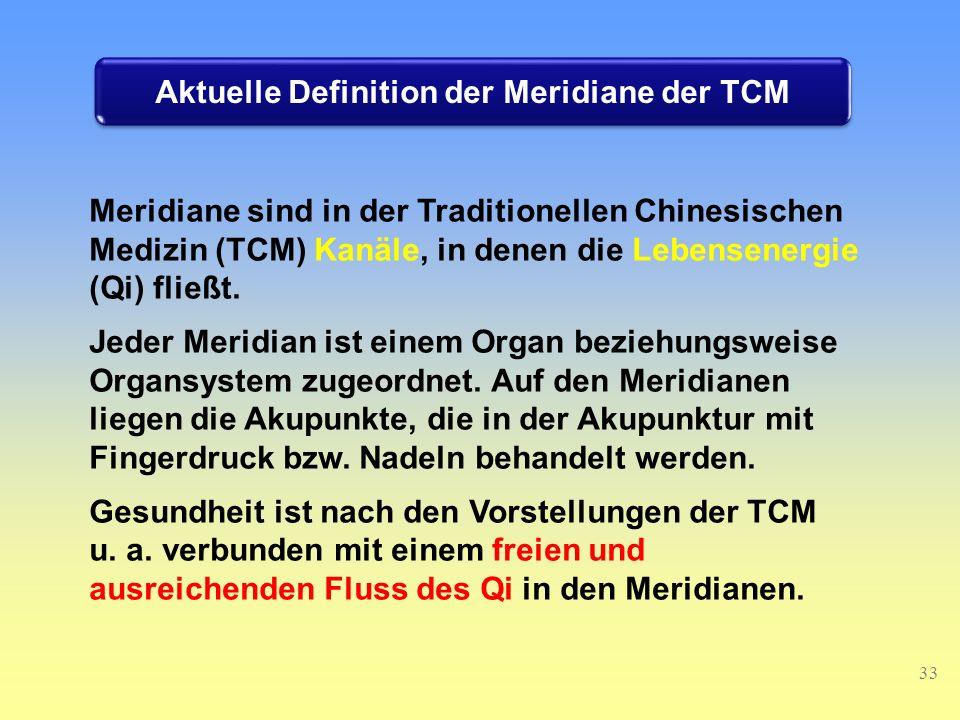 Aktuelle Definition der Meridiane der TCM
