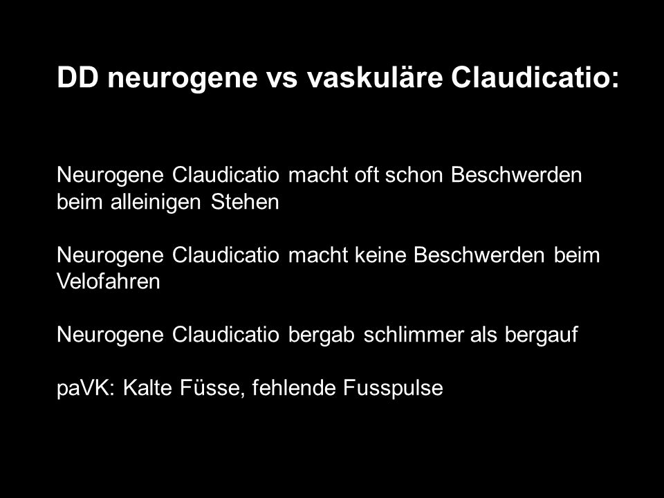 DD neurogene vs vaskuläre Claudicatio: