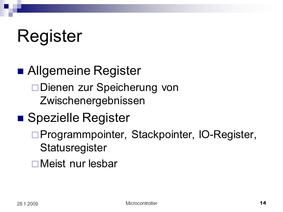 Register Allgemeine Register Spezielle Register