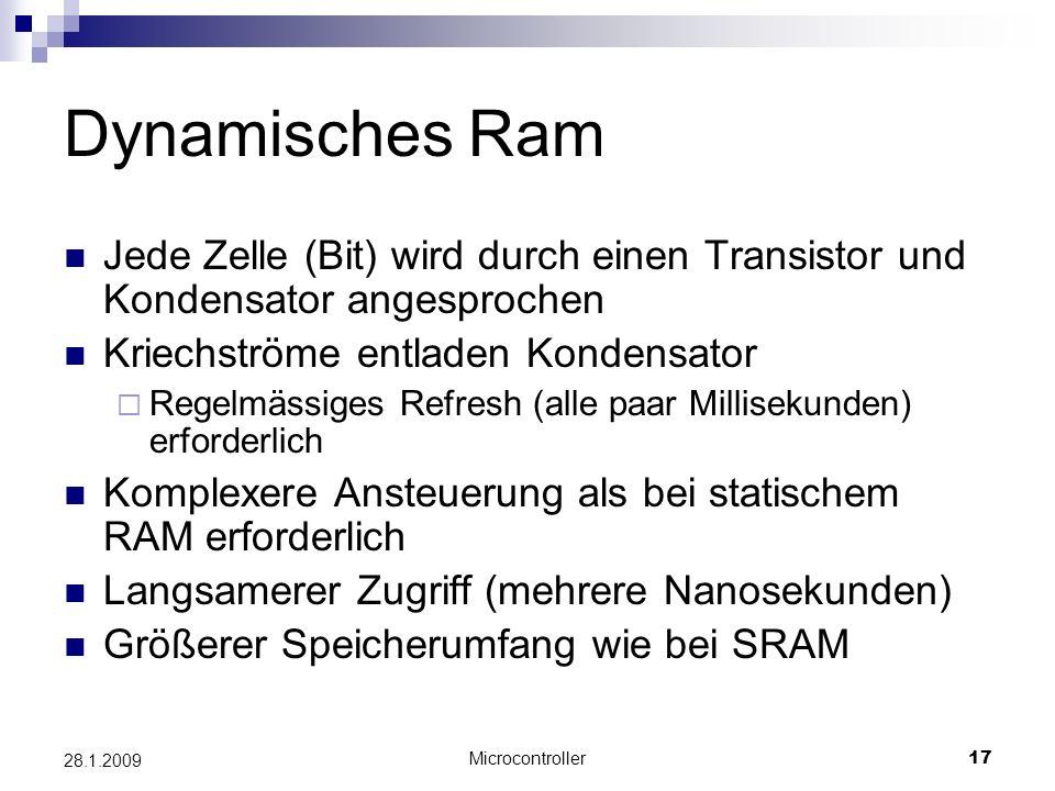 Dynamisches Ram Jede Zelle (Bit) wird durch einen Transistor und Kondensator angesprochen. Kriechströme entladen Kondensator.
