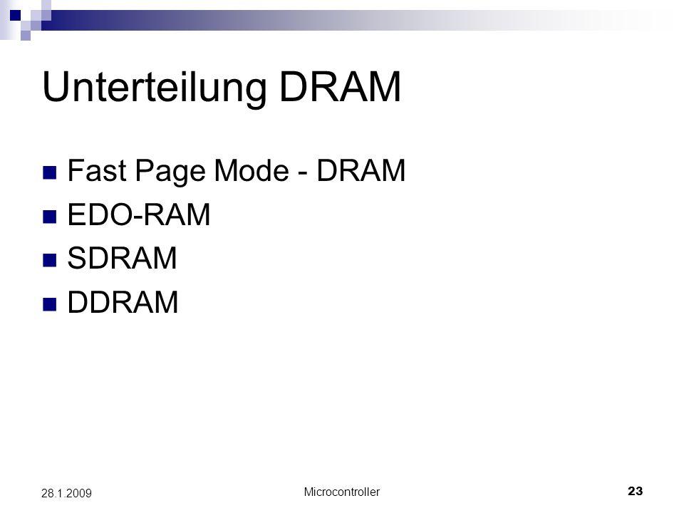 Unterteilung DRAM Fast Page Mode - DRAM EDO-RAM SDRAM DDRAM 28.1.2009