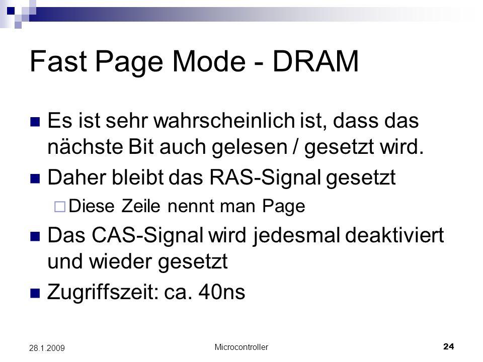 Fast Page Mode - DRAM Es ist sehr wahrscheinlich ist, dass das nächste Bit auch gelesen / gesetzt wird.