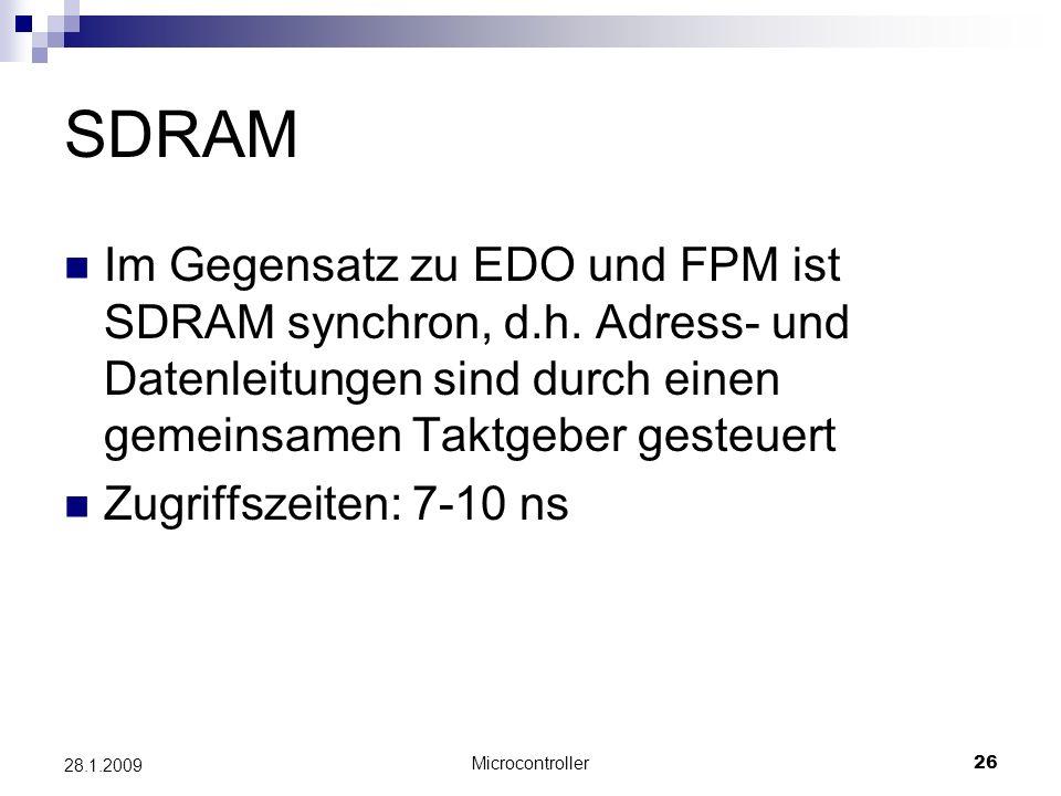SDRAM Im Gegensatz zu EDO und FPM ist SDRAM synchron, d.h. Adress- und Datenleitungen sind durch einen gemeinsamen Taktgeber gesteuert.