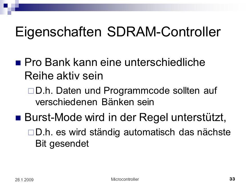 Eigenschaften SDRAM-Controller