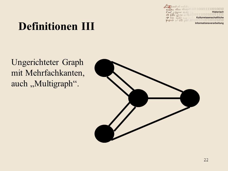 """Definitionen III Ungerichteter Graph mit Mehrfachkanten, auch """"Multigraph ."""