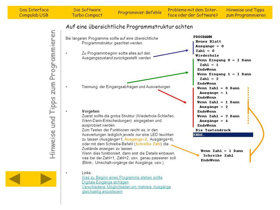 Auf eine übersichtliche Programmstruktur achten