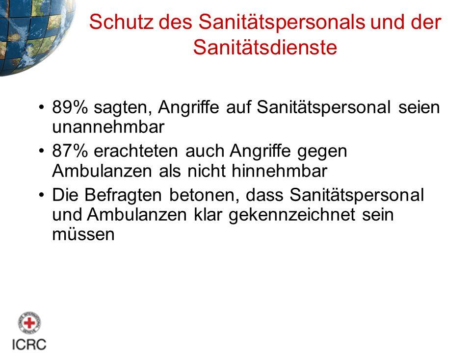 Schutz des Sanitätspersonals und der Sanitätsdienste