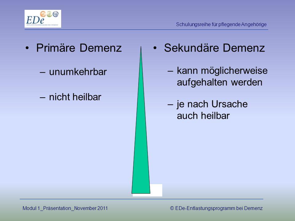 Primäre Demenz Sekundäre Demenz unumkehrbar nicht heilbar