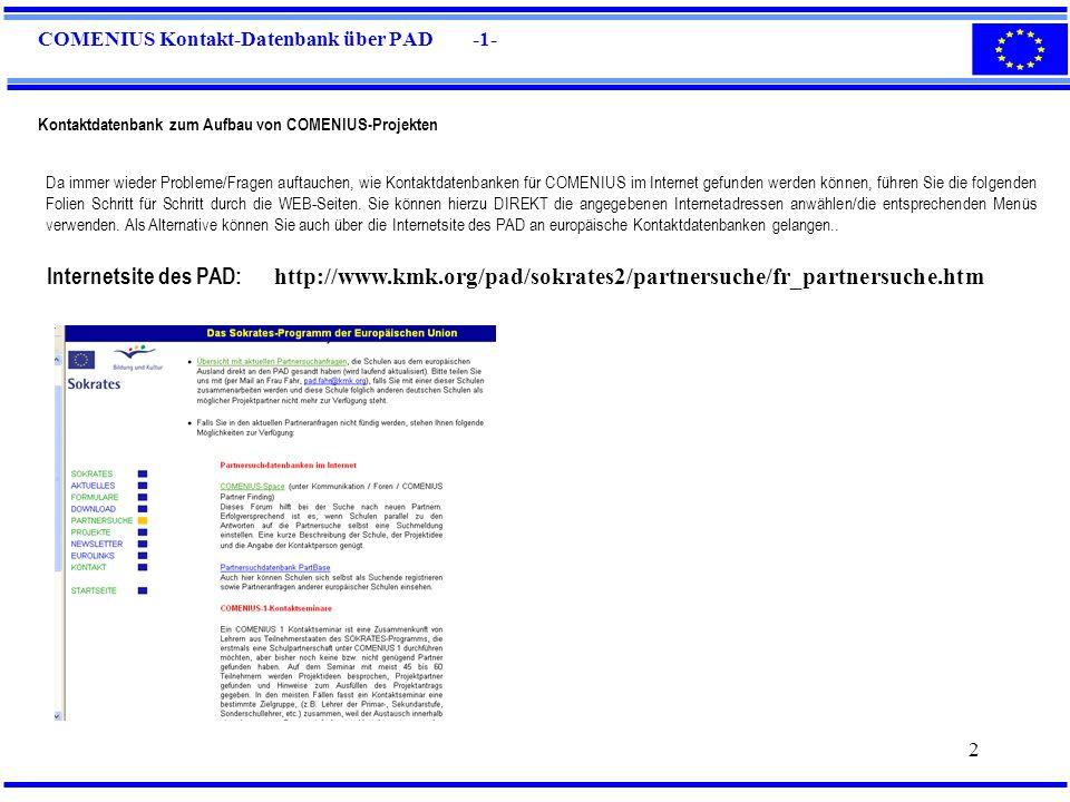 COMENIUS Kontakt-Datenbank über PAD -1-