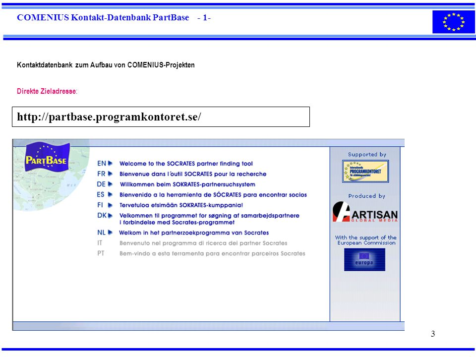 COMENIUS Kontakt-Datenbank PartBase - 1-