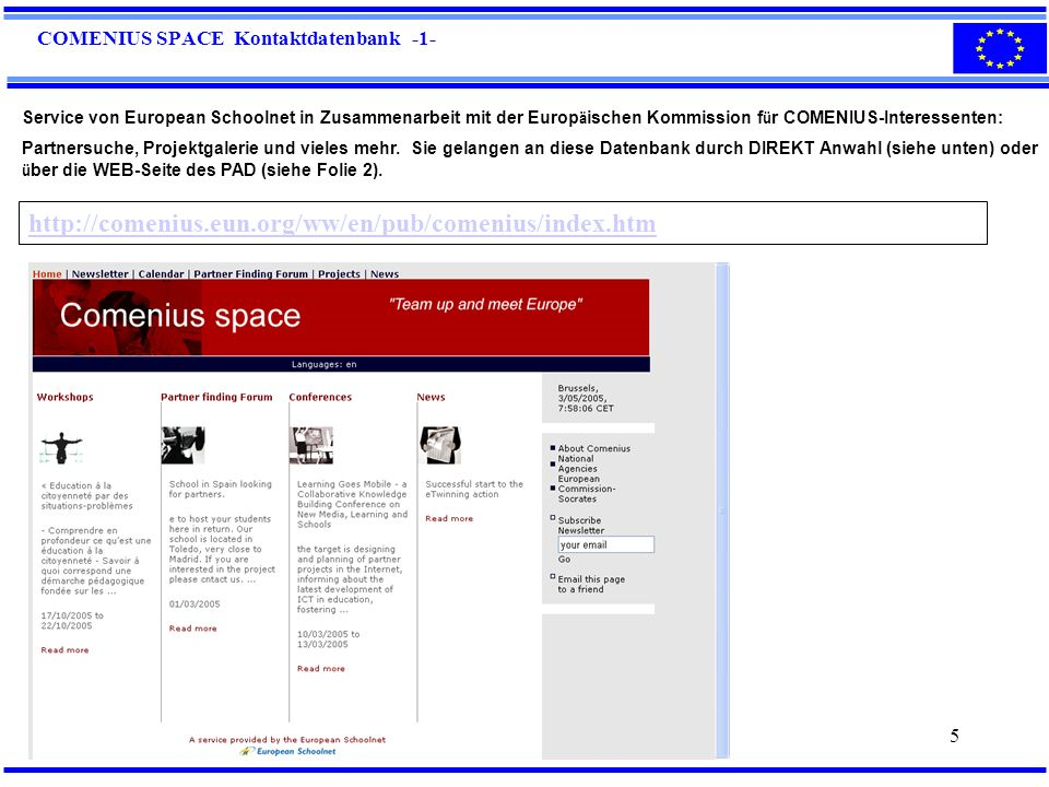 COMENIUS SPACE Kontaktdatenbank -1-