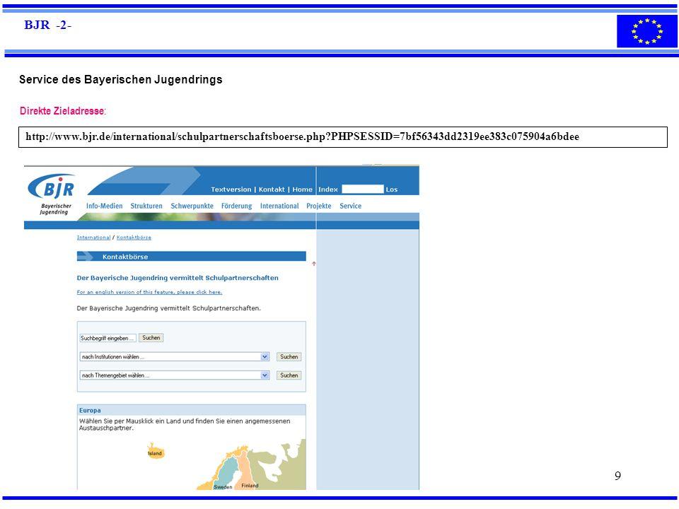 BJR -2- Service des Bayerischen Jugendrings Direkte Zieladresse: