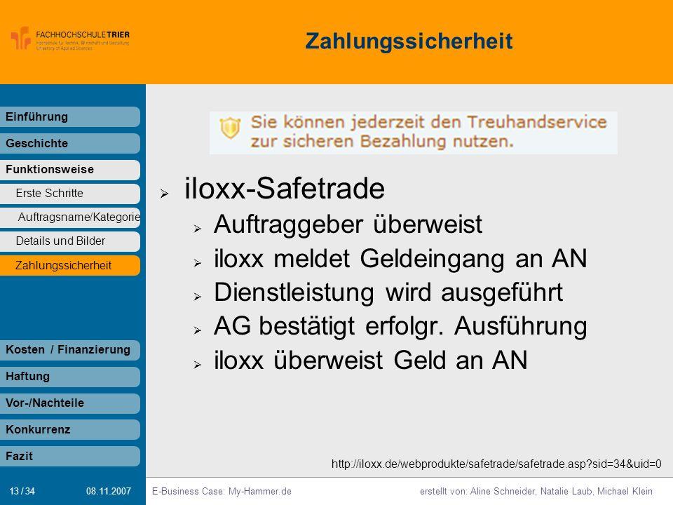 iloxx-Safetrade Auftraggeber überweist iloxx meldet Geldeingang an AN