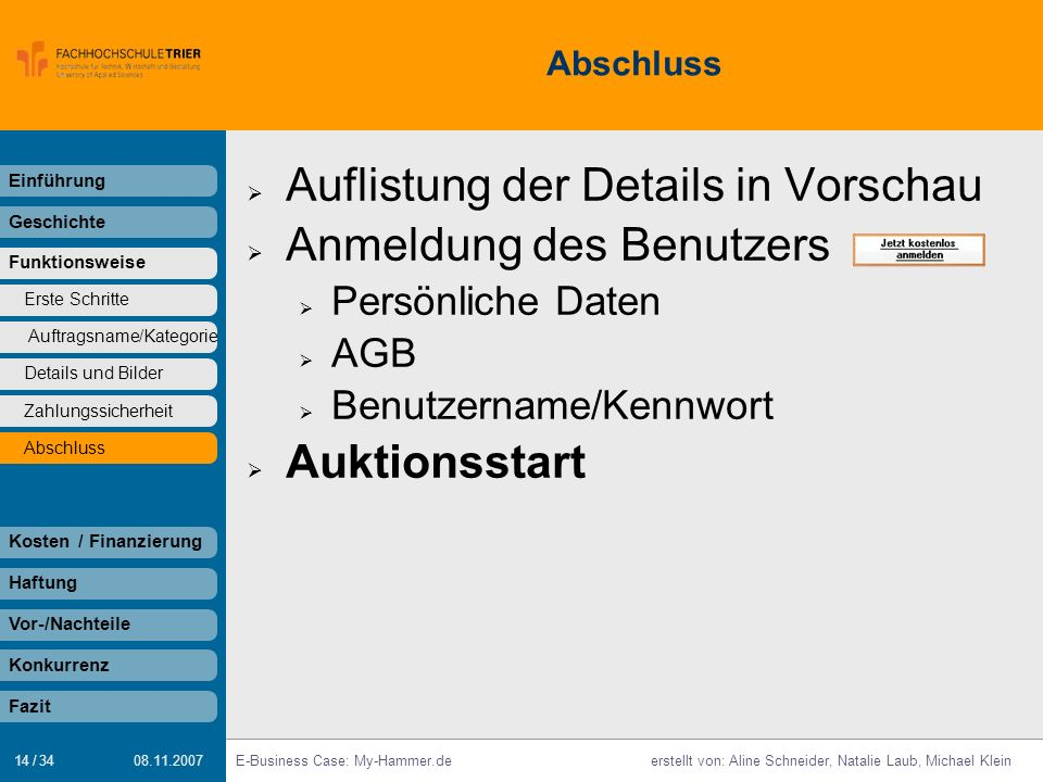 Auflistung der Details in Vorschau Anmeldung des Benutzers