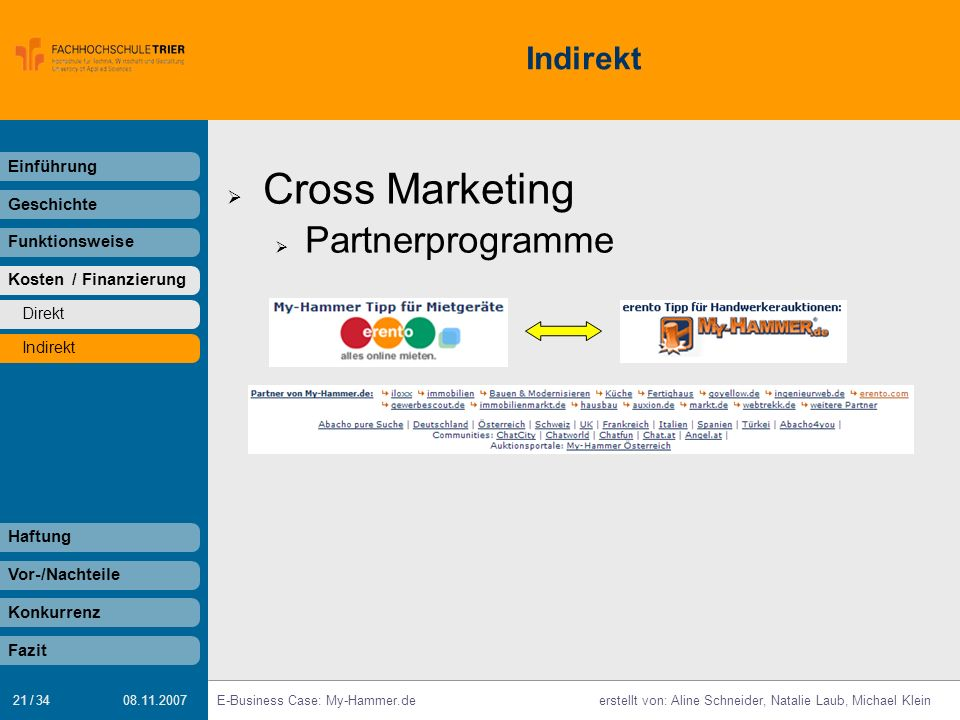 Cross Marketing Partnerprogramme Indirekt