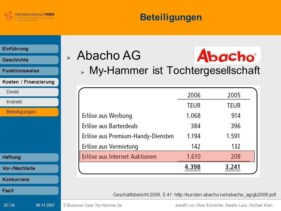 Abacho AG My-Hammer ist Tochtergesellschaft Beteiligungen