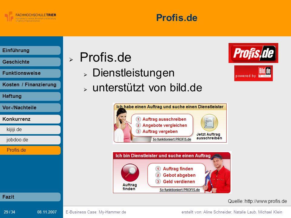Profis.de Dienstleistungen unterstützt von bild.de Profis.de