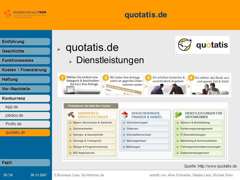 quotatis.de Dienstleistungen quotatis.de