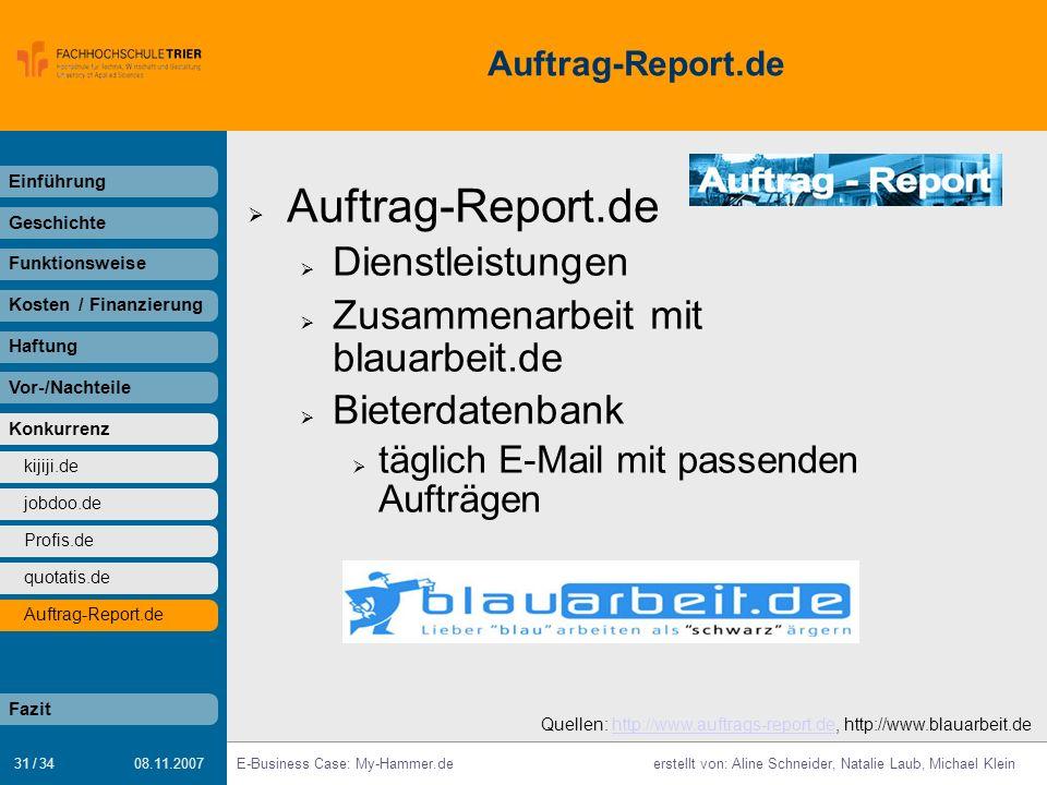 Auftrag-Report.de Dienstleistungen Zusammenarbeit mit blauarbeit.de