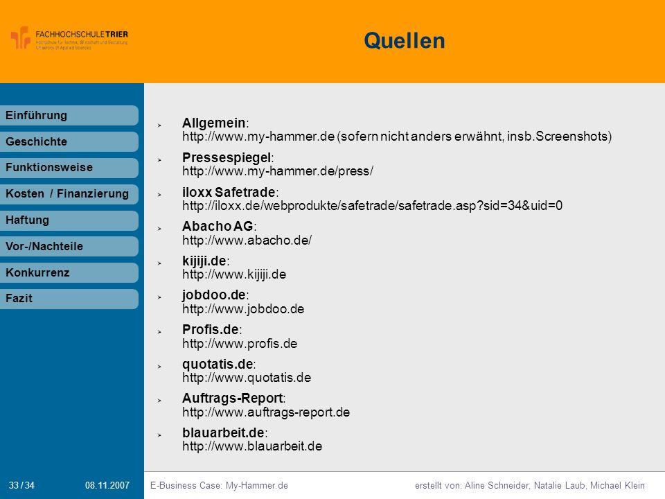 Quellen Einführung. Allgemein: http://www.my-hammer.de (sofern nicht anders erwähnt, insb.Screenshots)