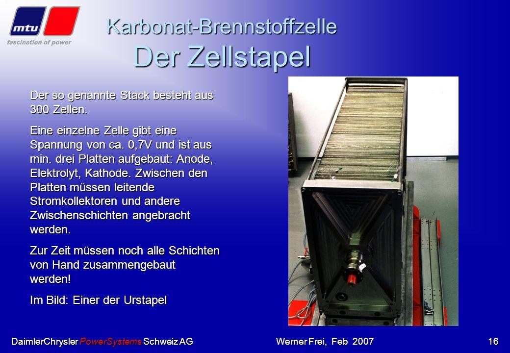 Karbonat-Brennstoffzelle Der Zellstapel