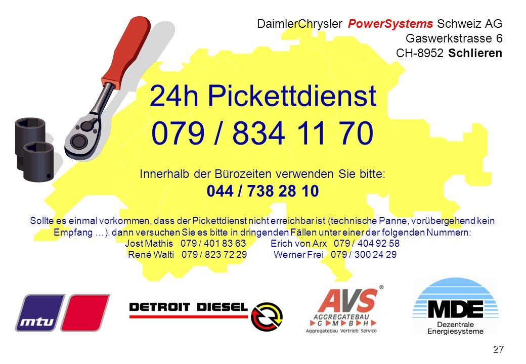 DaimlerChrysler PowerSystems Schweiz AG Gaswerkstrasse 6 CH-8952 Schlieren