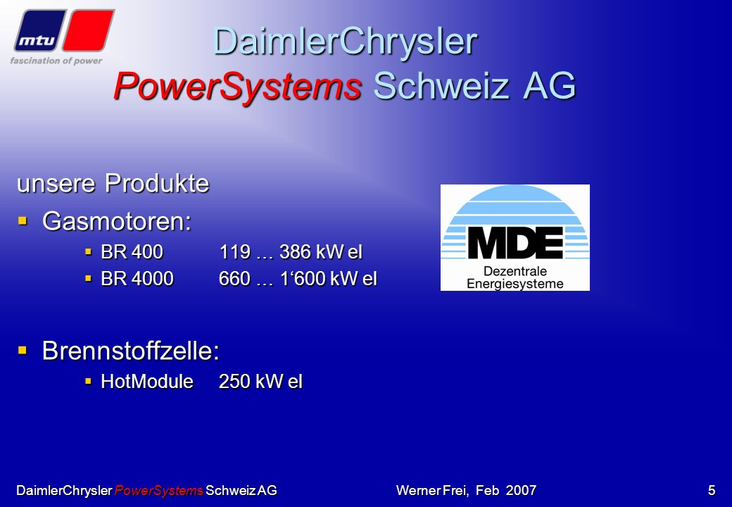 DaimlerChrysler PowerSystems Schweiz AG