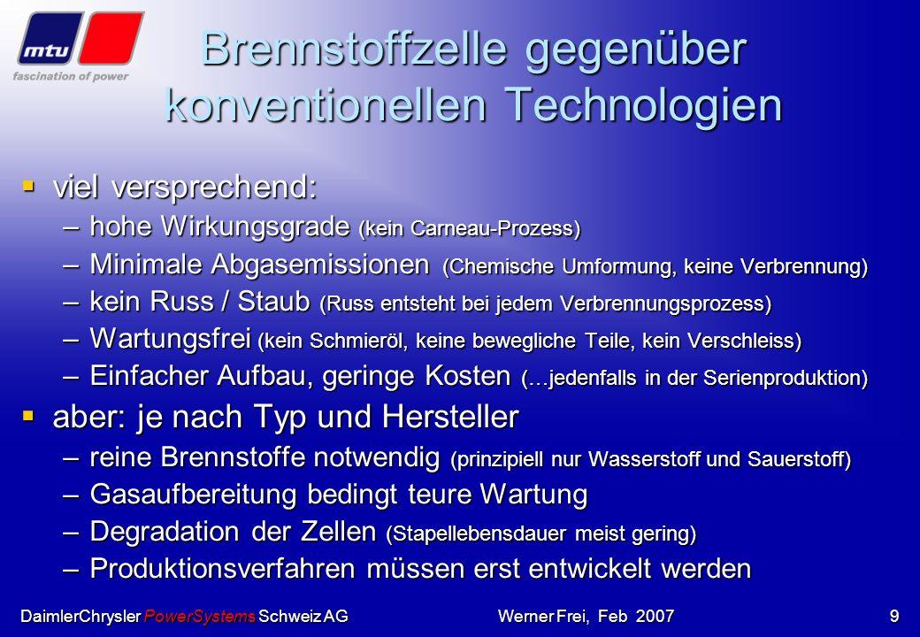 Brennstoffzelle gegenüber konventionellen Technologien