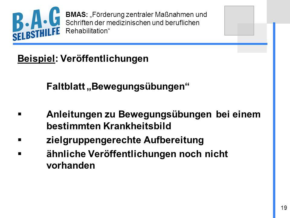 """Beispiel: Veröffentlichungen Faltblatt """"Bewegungsübungen"""