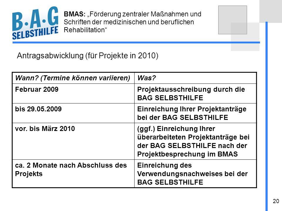 Antragsabwicklung (für Projekte in 2010)