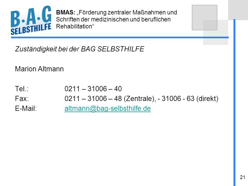 Zuständigkeit bei der BAG SELBSTHILFE Marion Altmann