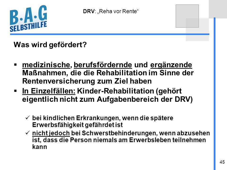 """DRV: """"Reha vor Rente Was wird gefördert"""