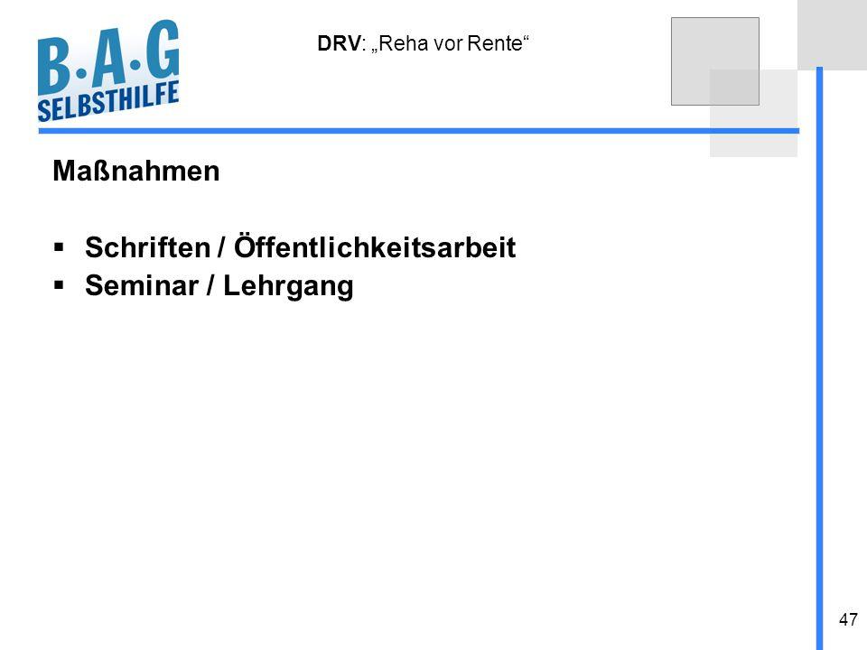 Schriften / Öffentlichkeitsarbeit Seminar / Lehrgang
