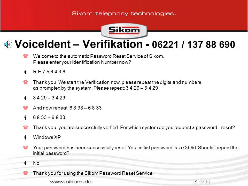 VoiceIdent – Verifikation - 06221 / 137 88 690