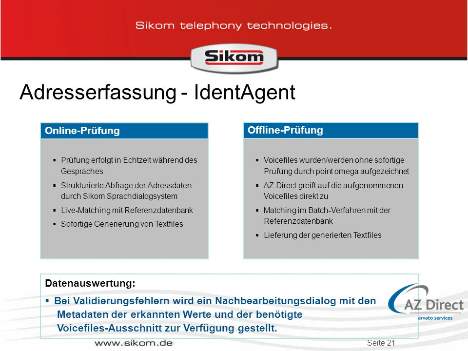 Adresserfassung - IdentAgent