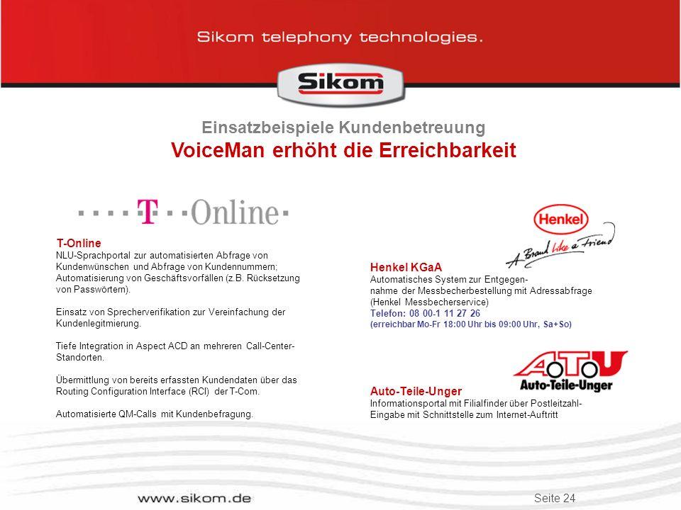 Einsatzbeispiele Kundenbetreuung VoiceMan erhöht die Erreichbarkeit