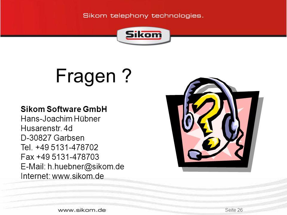 Fragen Sikom Software GmbH Hans-Joachim Hübner Husarenstr. 4d