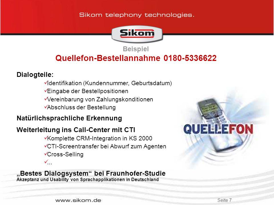 Beispiel Quellefon-Bestellannahme 0180-5336622
